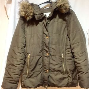 H&M Olive Winter Coat With Fur